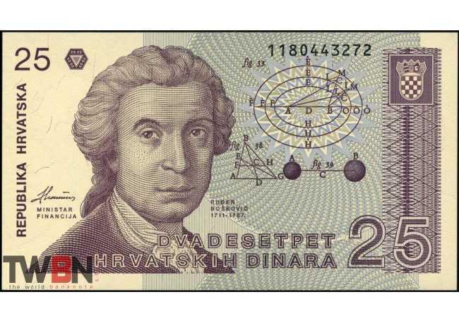 Zagreb cathedral 1991 UNC Croatia P19a geometric calculations 25 Dinar