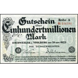Eschweiler and Stolberg 100,000,000 Mark 1923