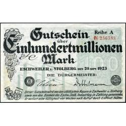 Eschweiler u. Stolberg 100.000.000 Mark 1923