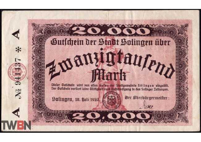 Solingen 20,000 marks 1923