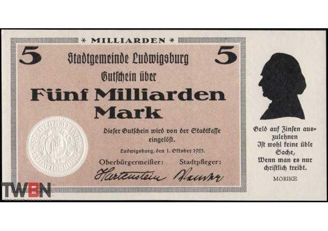 Ludwigsburg 5 billion marks 1923